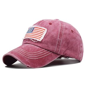 Pure cotton washed ponytail hole flag embroidered baseball cap ponytail fashion tide curved eaves ponytail cap
