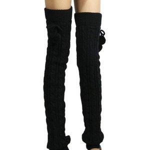 무릎 따뜻한 니트 양말 위에 여자 겨울 긴 부츠 커프스 따뜻한 니트 다리 스타킹 여성