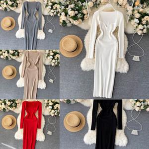 Robes CroySier pour femmes 2020 Sexy Bretelles Narbouillées Coindouillées Modycon Robe Femme Hiver Longue Manches Midi Pull Robe Vêtements J1215