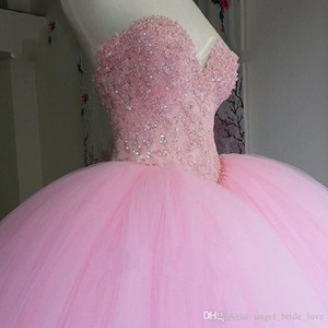 2021 New Puffy Ball Gown Pink Quinceanera Dress Sweet 16 Dresses Beaded Sequins Sweetheart Sweet 16 15 년 Prom 가운 QU03