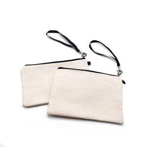 Sublimation Cosmetic Tote Bag Wristlets Printing Wallets Pouch Thremal Makeup F120701 Blank White Handbag Purses Heat Zipper Transf Esbuh