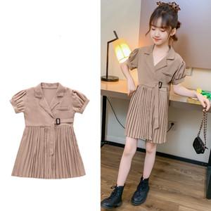 New Summer Girl Blazer with Belt Kids Chiffon Pleated Dress Suit Blazer-Dress Fashion Teenage Girls Clothing 12 14 Years Q1118