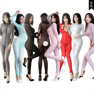 New Women Black Striped Sheer Bodysuit Smooth Fiber 2 Zipper Long Sleeve Jumpsuit Drop Shipping Good Quality
