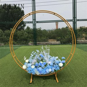 Outdoor Circle Wedding Arch New wedding Metal bracket Double Pole Ring Background Arch Shelf Garden Layout For Chriatmas
