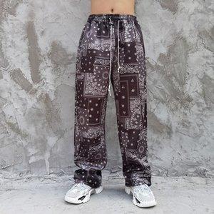 Nuevo Alto 2021 Kiryaquy Hombres Cómodo Lujoso Paisley Costa Oeste Craseros Sangres Pantalones casuales Sweatpants Parkour # D10 XCPG