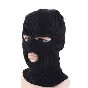 Windproof Beanies Full Face Cover Mask Three 3 Hole Balaclava Knit Hat Winter Ski Cycling Mask Beanie Hat Scarf Warm Masks