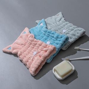 Tampões de cabelo seco engrossado super absorvente super absorvente coral gato orelhas de cabelo seco tampão tampão tampão seco toalha toalha spa banhos gwc5525