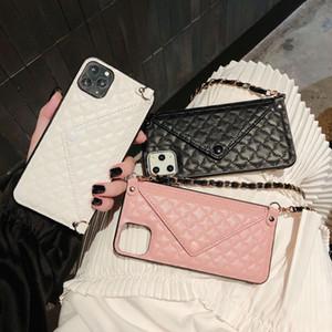 Tarjeta de crédito Teléfono Estuche Cartera Crossbody Cadena larga para iPhone 12 Mini 11 PROMAX XS Max Diamond Funda de textura de celosía con trampa