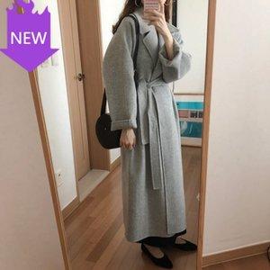 Übergroße lange Mantel mit Gürtel Kaschmir Oberbekleidung Großhandel Frühling Herbst Winter Neue Frauen Casual Wollmischung Graben