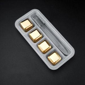 4pcs / set gold cube glace moule congelée acier inoxydable métal métal métal pinces coiffé boisson barre de whisky bar de vin de vin de pierre créative fournitures créatives BWE3419