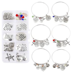 Inspirational Bracelet DIY Set Mixed Charm Assorted with Expandable Bangle Adjustable Wire Bracelets for Craft Jewelry Making Kimter-C349FZ