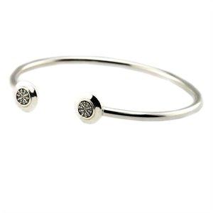 Nuevo Real 925 Sterling Silver Jewelry Clear Crystal Pave Signature Abra Brazaletes para las mujeres Fina Joyería Se adapta a los encantos de las cuentas de bricolaje
