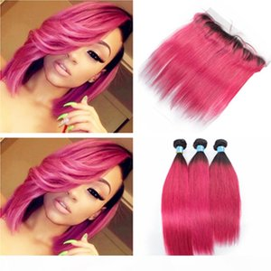 Hot Pink Ombre Human Have 3bundles und Frontal Spitze Verschluss Brasilianer Gerade # 1B Rosa Ombre Jungfrau Haarwege mit vollen Spitze Frontal 13x4
