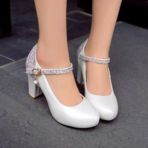 Plus Size 12 13 platform heels women shoes woman pumps ladies Round head Package toes Water drill Thick with Single shoes