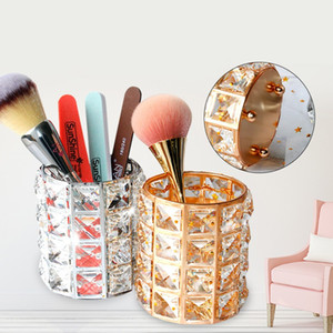 European Style Crystal Pen Holder Makeup Brush Storage Container Nail Shop Beauty Eyebrow Brush Cosmetic Organizer Creative Candlestick