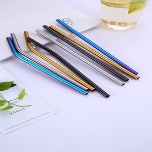 Colorful Stainless Steel Drinking Straws Straight and Bent Reusable Filter With Brush DIY Tea Coffee Tools Cleaner Brush DHF3519