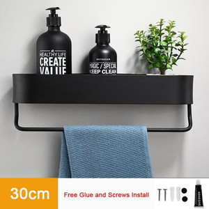 Black Bathroom Shelf 30-50cm Length Kitchen Wall Shelves Shower Basket Storage Rack Towel Bar Robe Bathroom Hooks Accessories1
