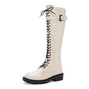 Botas largas de la rodilla 2019 2019 Otoño / Invierno Moda Nuevo Slim All-Match Knight Boots Femenino Hebilla Casual Botas de cuero