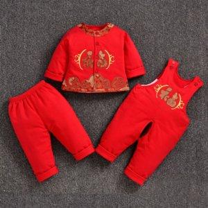 MDNP5 2019 новый красный Tang Baby Set Детский ремешок три костюма для мальчиков и девочек и девочек и девочек из китайского стиля тонкий детский набор