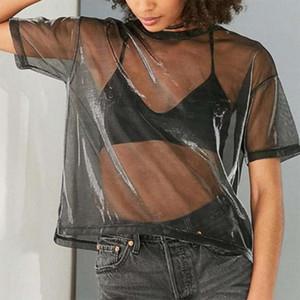 Fashionable See Through Shiny T shirt Womens New Sheer Mesh Vintage Tops Wear Ladies Short Sleeves T Shirt Summer Hot Selling