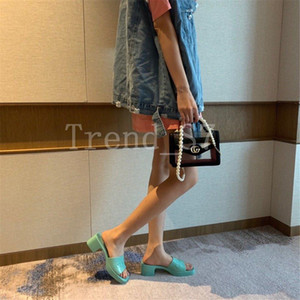 Beach slippers Summer Designer Women Shoes Coarser heel flops 100% Patent leather lady Half slipper Metal luxury High heeled sandals