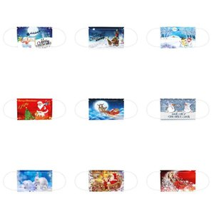Christmas masks for adults and children disposable three-layer fused spray children's printed masks for adults printed masks EWA2455