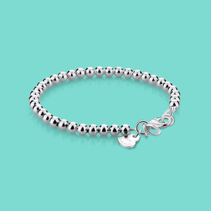 Minimalist 925 Sterling Silver Bracelet Women's Rose Gold Bead Bracelet Classic Student Charm Jewelry Solid Silver High Quality B1203