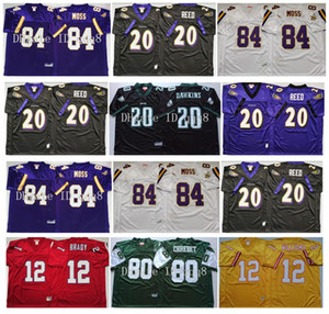 Retro 84 Randy Moos Trikots 12 Tom Brady 20 Barry Sanders 20 Brian Dawkins 80 Wayne Chrebet 20 Ed Reed 12 Doug Williams Mn Football Trikots