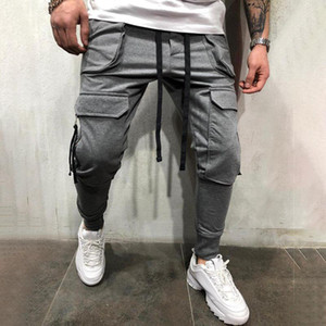 Streetwear Pants Men 2020 New Black Multi-pockets Joggers Men los hombres conjuntos Grey Trousers Elastic Waist Male Pants