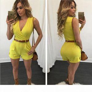 Women romper with Belt plus size rompers wide leg jumpsuit bodysuit sleeveless for women pants jumpsuits elegant rompers shorts onesies