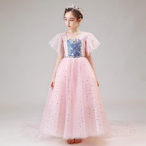Flower Girls Dresses Ball Gown Crystal Square Collar Lace Floor-Length Sequined Tulle Pink Luxury Princess Kids Party Dress D167