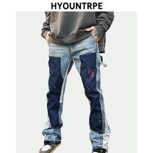 Men's Jeans Fashion Graffiti Printed Patchwork Denim Flare Casual Trousers Hip Hop Loose Jean Jogger Streetwear Men Baggy
