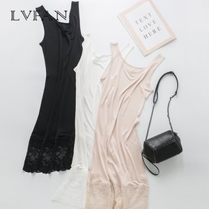 spring summer new pure color silk lace hollowed-out printing fashionable stitching slim dress silk sole skirt LVFAN Y036