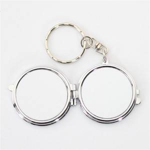 Stainless Steel Key Buckle Girl Cosmetic Mirror Double Circle Sublimation Blanks Keyring Portable Compact Keychain Outdoors 3 2hy M2