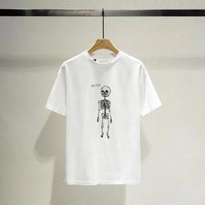 20FW Frühling Sommer Europa Amerika Art und Weise Schädel-Skeleton goldene Buchstaben T-Shirt-Frauen Straße beiläufige Baumwolle T-Shirt