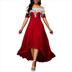 Hot Apparel Summer Autumn Dresses Plus Size Party Lace Patchwork Off Shoulder Short Sleeve Women High Low Dress
