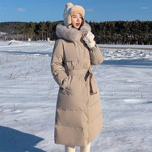 90% content womens down jacket solid long woman parkas thick warm faux fur hooded coats and jackets women winter windbreaker top1