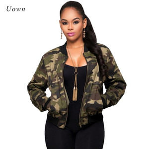 Women Camouflage Printed Jackets 2020 Autumn Round Neck Long Sleeve Camo Baseball Jackets Basic Short Coat Bomber Jacket Outwear