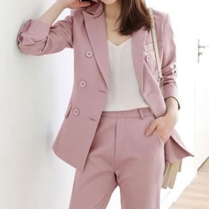 2020 New Professional Work Wear Women Blazer Pants Suit Elegant Long Sleeve Blazers + Pants Suits 2 Pcs Set Clothes