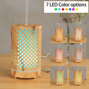 200ml Ultraschall-Luftbefeuchter aushöhlen Aromatherapie-Maschine USB-Holzkorn-Aroma ätherisches Öldiffusor mit 7 Farben LED-Licht GGA3835