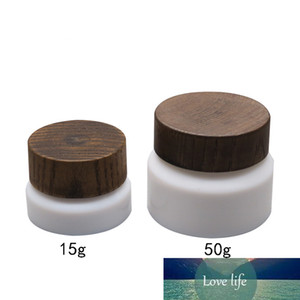 15 50g High Qualtiy White Porcelain Glass Jar With Wood Cap Cream Jar Mask Cream Refillable Empty Cosmetic Makeup Container