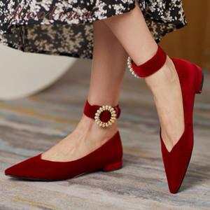 Meotina Women Flats Shoes Pointed Toe Flock Ballet Flats Shoes Ladies String Bead Fashion Footwear Slip On Female Black 40