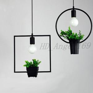 Hanging Lamp Geometric Plants Pot Iron Square Round Suspension Pendant Light Nature Designer For Decor Restaurant Cafe Lighting