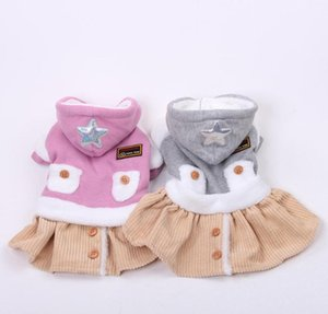 New Princess Pet Dress Flannel Skirt Star Design Dog Cat Hoodie Outfit Autumn Winter Clothes Apparel