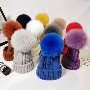 Winter Child Adult Real fox fur pom Hat thick Twist Cable pattern Warm beanies Cap Girl boy wool knitting skullies Gorros
