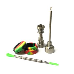2020 Glass Bong Tool set T-002 Domeless GR2 Titanium Nail with Titanium Nail carb cap Dabber TOOL slicone Jar Dab container