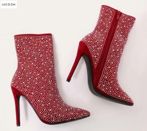 2020 Scintillio Stivaletti da donna Stivaletti Moda Stivali Stivaletti Shine Diamond Stud Booties Thin Heel Party Donne Shoe Shoe
