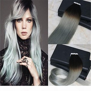 40pcs 100g Silver Ombre Tape in Hair Extensions Color 1B Fading to Grey Balayage Double Drawn Human Hair Top Quality Remy