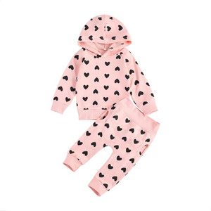 2Pcs Clothes Set Infant Baby Girl Kid Tops Love Hooded Pullover + Trousers Outfit Clothes Sets