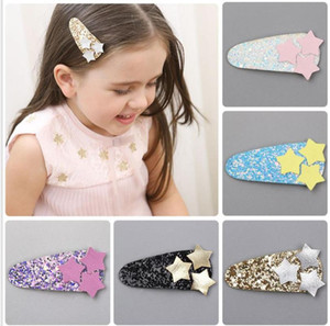 2-5PCS New Glittering kids PU Stars BB hair Clips Girls Hairpins barrette Clips Kids Headwear Children Fashion Accessories J79